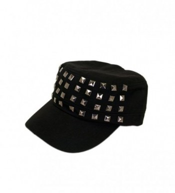 Adjustable Cotton Military Style Studded Front Army Cap Cadet Hat - Diff Colors Avail - Black - C611KUTXMKX