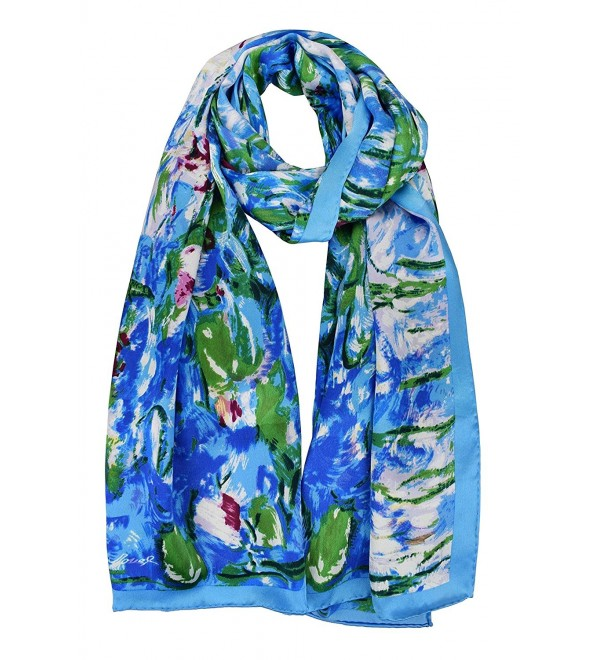 Elegna 100% Luxurious Silk Scarf Claude Monet Famous Painted Scarves - Water Lilies - CJ17YC4K0GM