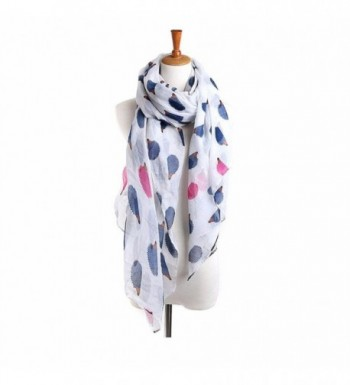 Deamyth Women Hedgehog Printing Voile Scarf Wraps Shawl Headscarf - White - CY12NYF93AM