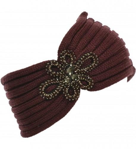 Hand By Hand Aprileo Floral Knitted Headband Headwrap Rhinestone Warmth - Burgundy. - CM12GUFW93V