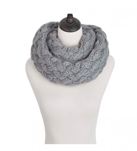 Premium Solid Winter Criss Cross Knit Thick Infinity Loop Circle Scarf - Grey - CW12MMBJ1SN