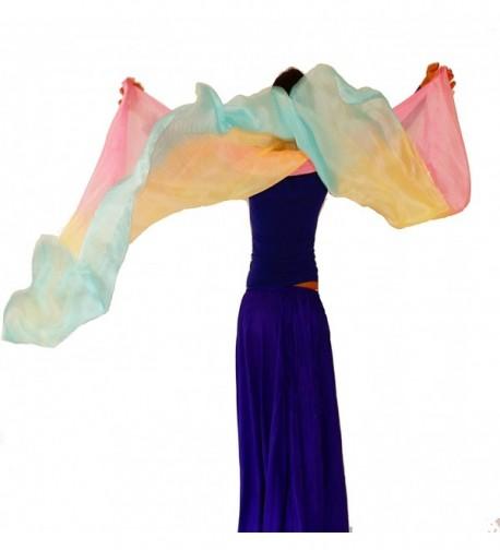 Nahari Silks 100% Silk Hand-dyed Scarves in Unique Blends & Solids - Baby Rainbow - CP11FI0ESEN