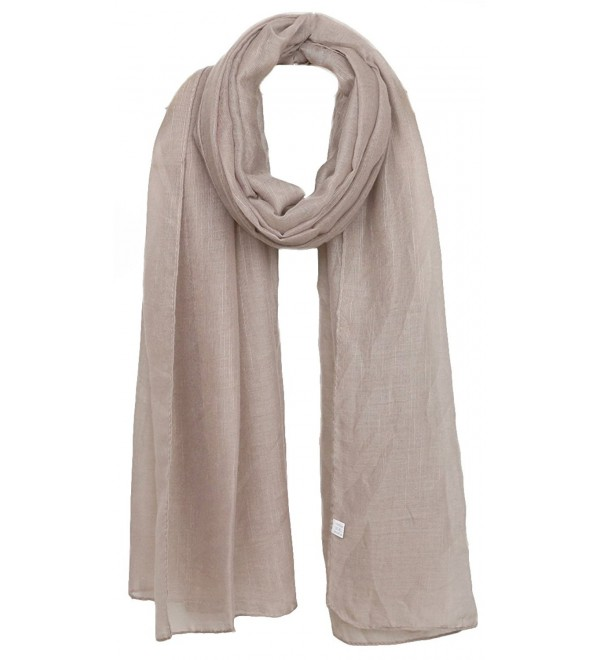 Ayli Women's Solid Color Scarf Long Shawl Lightweight Fashion Wrap Various Colors - Khaki - C0186YMO4HT