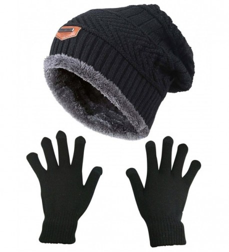 Slouchy Beanie Gloves HINDAWI Mittens - Hat and Gloves (Black) - CX1872RX6X7