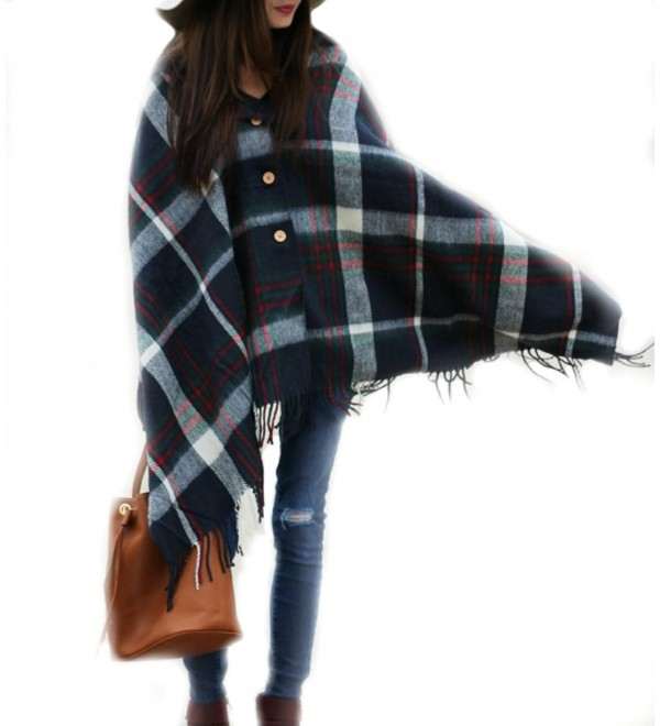 Pretty Simple Plaid Button Blanket Scarf Shawl Women's Wrap - Navy Blue - CR12G26THW9