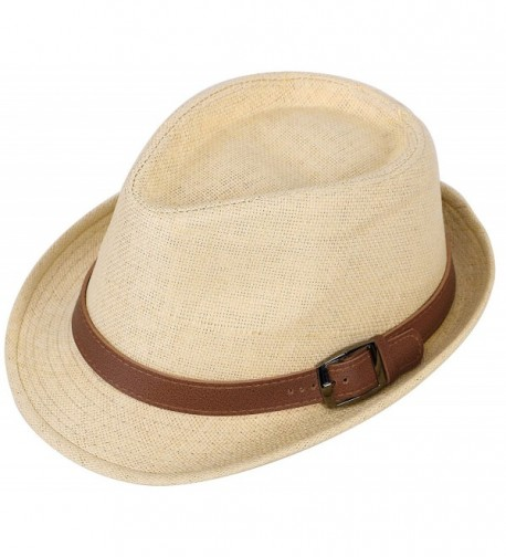 EPGU Men/Womens Outdoor Casual Structured Straw Fedora Hat w/PU Leather Strap - Natural Hat Brown Belt - CM1804LC7XY
