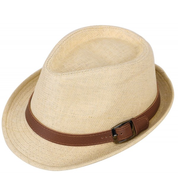 7b52924e0 Men/Womens Outdoor Casual Structured Straw Fedora Hat w/PU Leather Strap  Natural Hat Brown Belt CM1804LC7XY