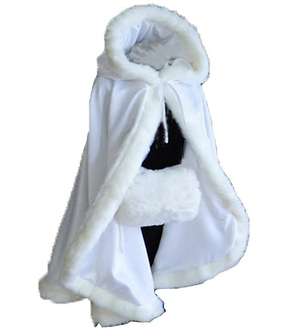 Aiyi Women's Winter Cloak Hooded Faux Fur Edge Short Bridal Christmas Wraps - White - CD187NTCKES