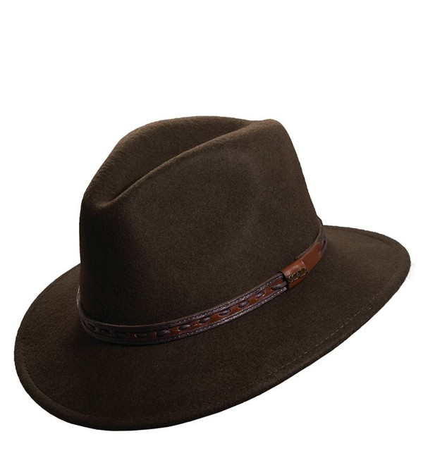 Scala Classico Men's Crushable Felt Safari With Leather Hat - Olive - C81172ZY8IN