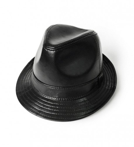 lethmik Black Fedoras Unisex Fedora Hat Solid Color Lambskin Leather Hats - Lambskin Black - CC12BBCC0BT