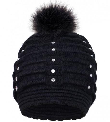 Toppers Womens Faux Fur Pompom Knit Winter Beanie Hat w/Sequins - Black - CZ18953TKAM