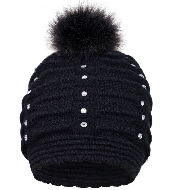 1630f2d4be4 Toppers Womens Faux Fur Pompom Knit Winter Beanie Hat w Sequins - Black -  CZ18953TKAM
