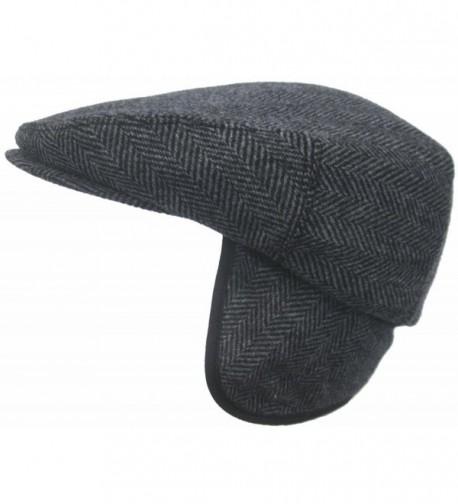 Headchange Made in USA Herringbone or Solid Ear Flap Ivy Cap Winter Hat 100% Wool - Black - CZ11QCJI2YV