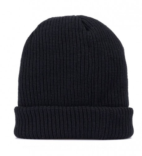 Men Knit Hat Winter Beanie Slouchy Hats Skull Cap Thick Fleece Lining - Dark Black - C412NV1U734
