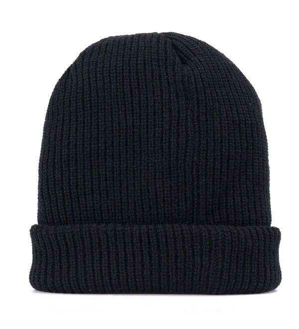 Men Knit Hat Winter Beanie Slouchy Hats Skull Cap Thick Fleece Lining - Dark Black - C412NV1U734