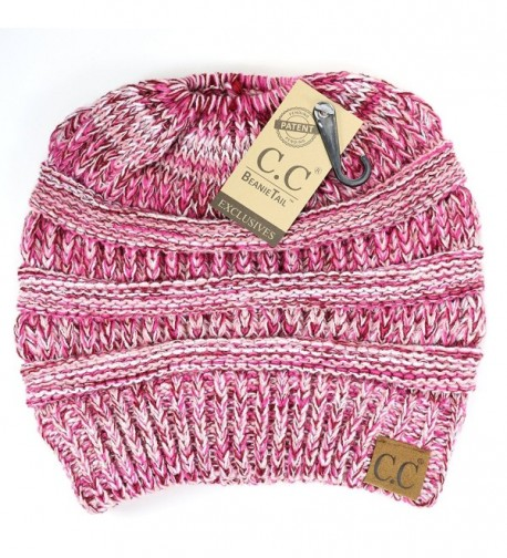 Crane Clothing Co. Women's Multi Tone CC Beanie Tail - Pink - CR1859O5OR5