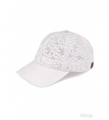 ScarvesMe C.C Floral Lace See Through Adjustable Baseball Cap - White - C717Y0XAGOG