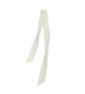 SilRiver Women's 100 % Silk Skinny Scarf- Necktie- Sash Tie-Headdress- Fashion Accessories - Black Dot - C2180EOERKA