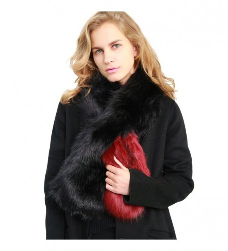 MissShorthair Women's Winter Faux Fur Scarf Colorful Collar Stole Shawl Wrap - 1 Red - CT186YKCQTD