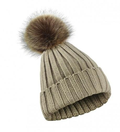 Witspace Women Winter Crochet Knitted Hats Girl Skull Caps Ball Beanies Hairball Hats - Khaki - CE188ITIM54