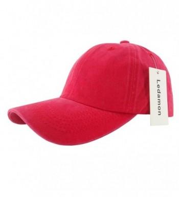Ledamon Baseball Cap Vintage Dad Hat Plain Polo Washed Cotton Adjustable Hat Cap Unisex - Red - CX184Z06M58