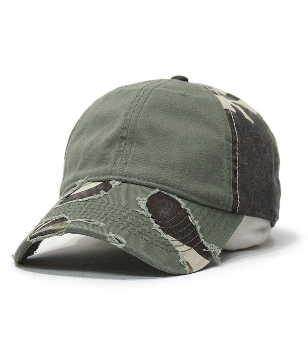 Camouflage Distressed Profile Baseball Adjustable - Olive Green/Brown Camo - CE124M8DBF3