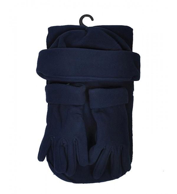 Women's Solid Polyester Fleece 3-Piece gloves scarf Hat Winter Set - Navy - CV1882RISAX