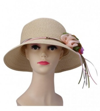 JTC Lady Beach Straw Sun Hat Bowler Cap with Chiffon Bow Visor Brimmed 5Colors - Cream - CD11KOKU5CB