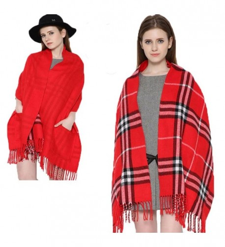 Da Ben Tai Women's Cashmere double sided fringed plaid scarf shawl with pocket - Red - CD187ED8WH2