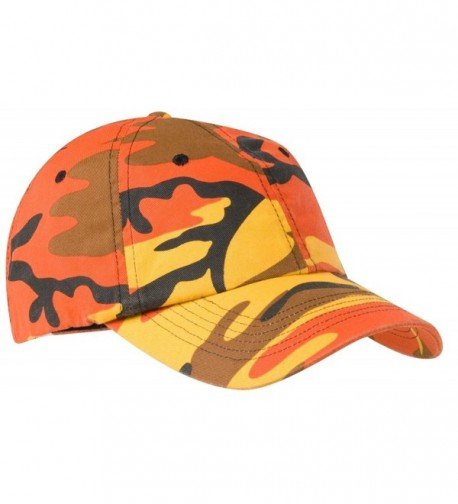 Joe's USA - Adjustable Camo Camouflage Cap Hat in 6 Colors - Orange Camo - CQ11SYW9WEN