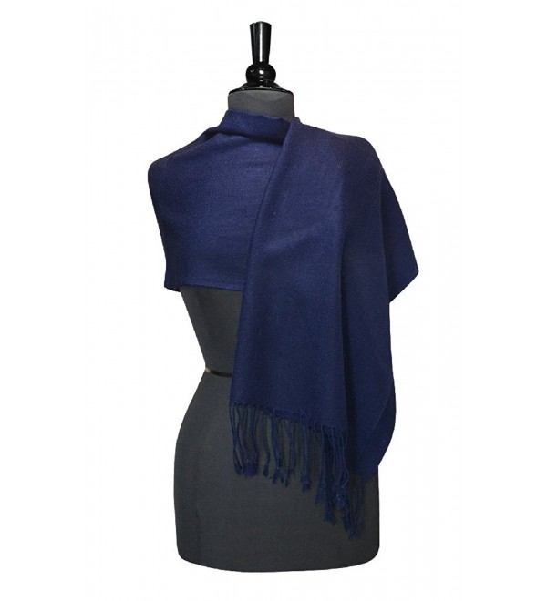 Biagio 100% Wool Pashmina Solid Scarf NAVY BLUE Color Women's Shawl Wrap Scarves - CP11IVBIPF9
