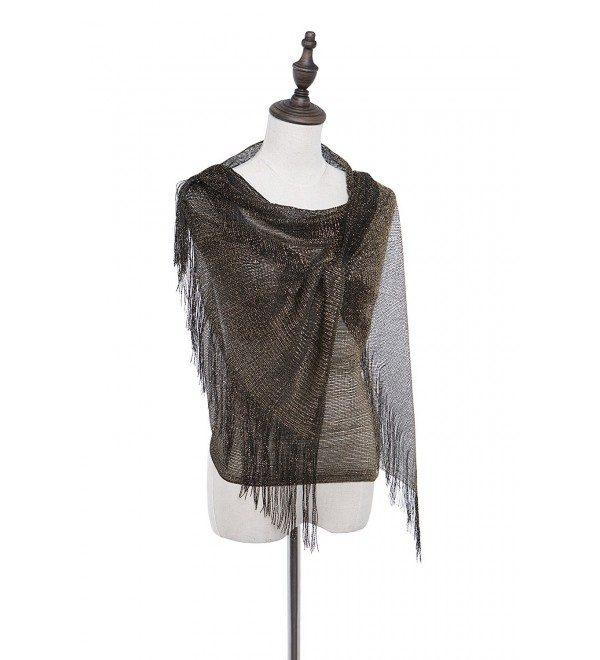 Evening Formal Shawl and Wrap- 1920s Flapper Wedding Sparkle Piano Scarf for Women - Black and Gold - CX18496ALNN