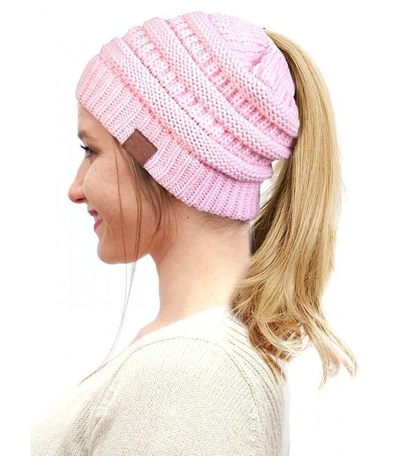 ba39c3291 BeanieTail Soft Stretch Cable Knit Messy High Bun Ponytail Winter Women  Beanie Hat A-baby Pink CE188K4X2ZZ