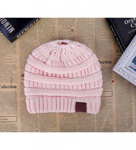 52d02bb3e BeanieTail Soft Stretch Cable Knit Messy High Bun Ponytail Winter Women  Beanie Hat A-baby Pink CE188K4X2ZZ