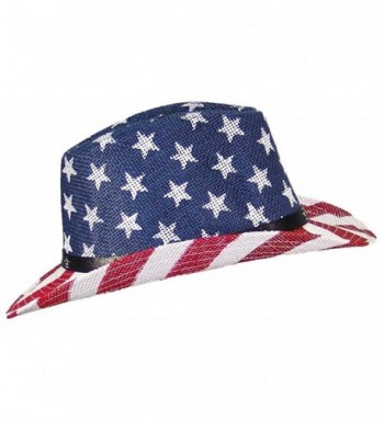Tropic Hats Womens Cowgirl American/Americana W/Stars & Buckle Band (One Size) - Red/White/Blue - CP17YUUK2YW