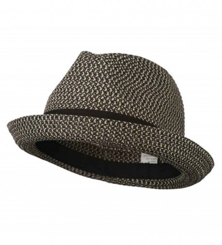 Men's Fedora with Paper Straw Braid - Black Grey - C511D3H5E0F