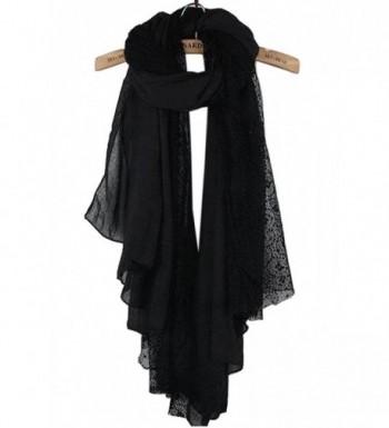 NOVAWO New Women Lady Ultra Long Gorgeous style Soft scarves shawl - Black/Lace - CK11NHKPOSF