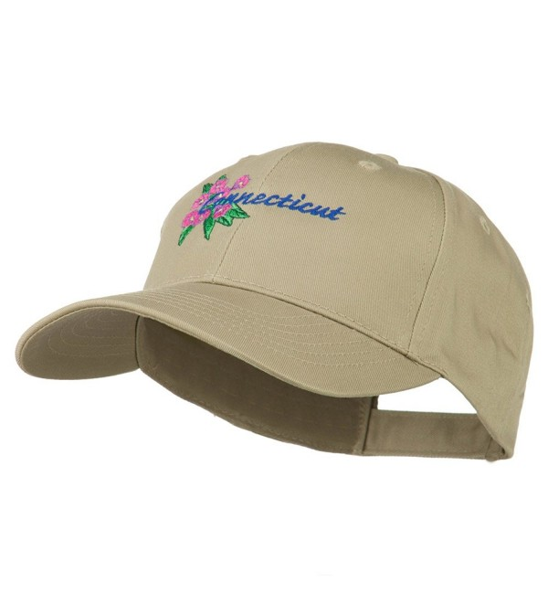 USA State Connecticut Flower Embroidered Low Profile Cotton Cap - Khaki - CF11NY3EFBR