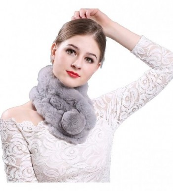 TEERFU Womens Real Beaver Rabbit Fur Wrap Scarf Soft Warm Neck Warmer Scarves - Light Grey - CQ187CQ5YLA
