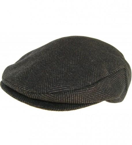 Headchange Made in USA 100% Wool Ivy Scally Cap Brown Herringbone Driver Hat - CU11HEIVUBV