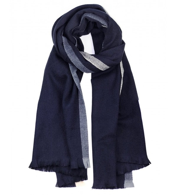 NYFASHION101 Women's Two Striped Oblong Large Blanket Shawl Scarf - Navy - CU12NB65FRY