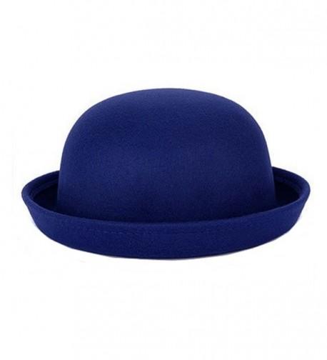 Pierre LaMarreDS Retro Ladies Solid Roll-up Brim Fedora Bowler Hat - Royal Blue - C512N43YD6I