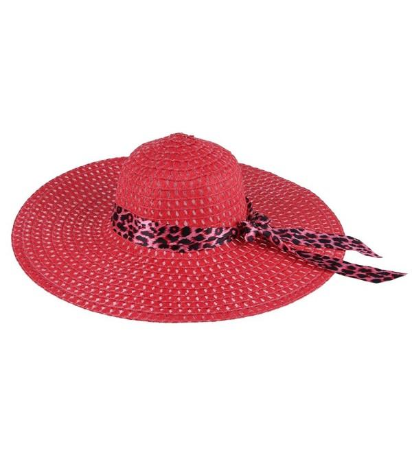 JTC Big Straw Hats Wide Brim Leopard Ribbon 12 Colors - Red - CY122LMWLDF