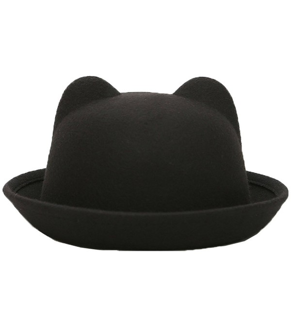 Lujuny Cute Cat Ear Bowler Hats - Wool Trendy Derby Caps With Roll-up Brim For Men Women - Black Cat - CC180M6M020