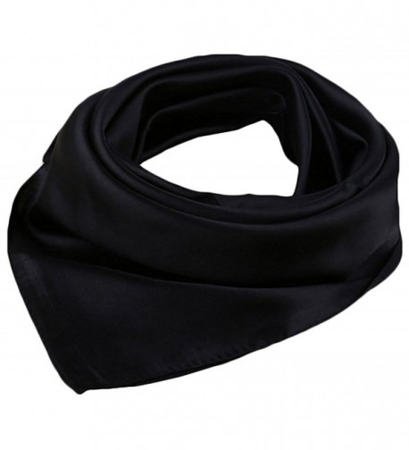 "X&F Women's Solid Stain Charmeuse Neckerchief Square Scarf 23"" * 23"" - Black - CK12IHSY49B"