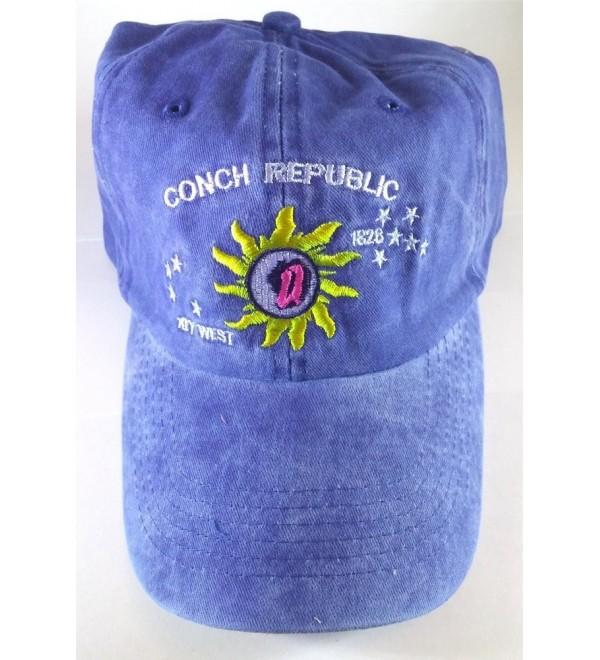 Key West Baseball Cap- Colorful Conch Republic Embroidery - Blue - C111UTUV0PR