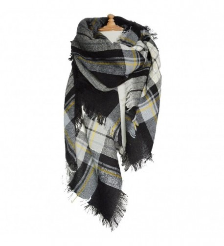 Sundayrose Plaid Blanket Scarf Oversized Square Tartan Shawl Wrap - Black White Yellow - C718787SN80