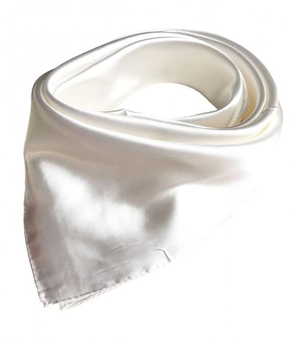 Women's Solid Color Square Scarf Neckerchief - White - CC12N75R7ZI