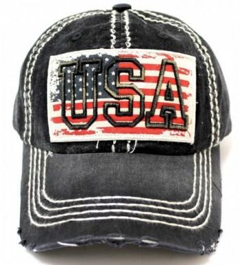CAPS 'N VINTAGE Vintage USA Flag Embroidery Patch Adjustable Baseball Cap - C3183D94S3C