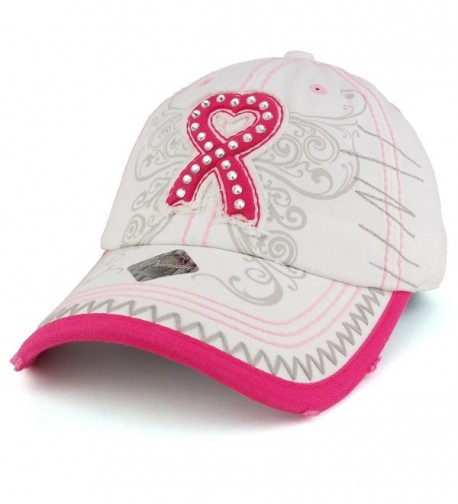 Trendy Apparel Shop Breast Cancer 3D Pink Ribbon Embroidered Cotton Baseball Cap With Cubic Studs - White - CD17YL5OL6Z